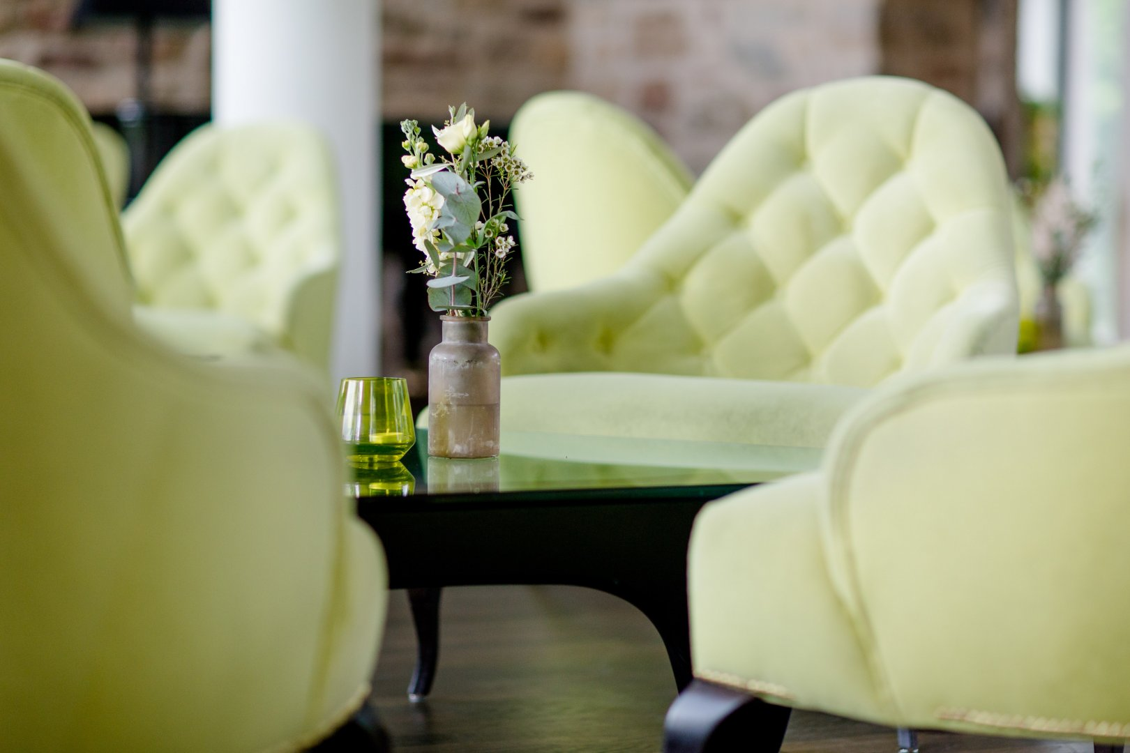 Green Yellow Furniture Room Interior design Living room Chair Table Slipcover Plant Interior design Couch