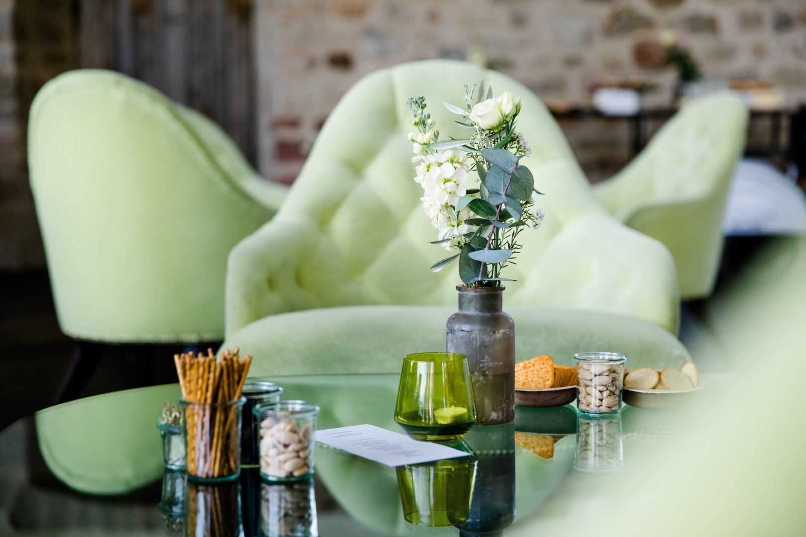 Green Yellow Table Room Flower Plant Centrepiece Interior design Furniture