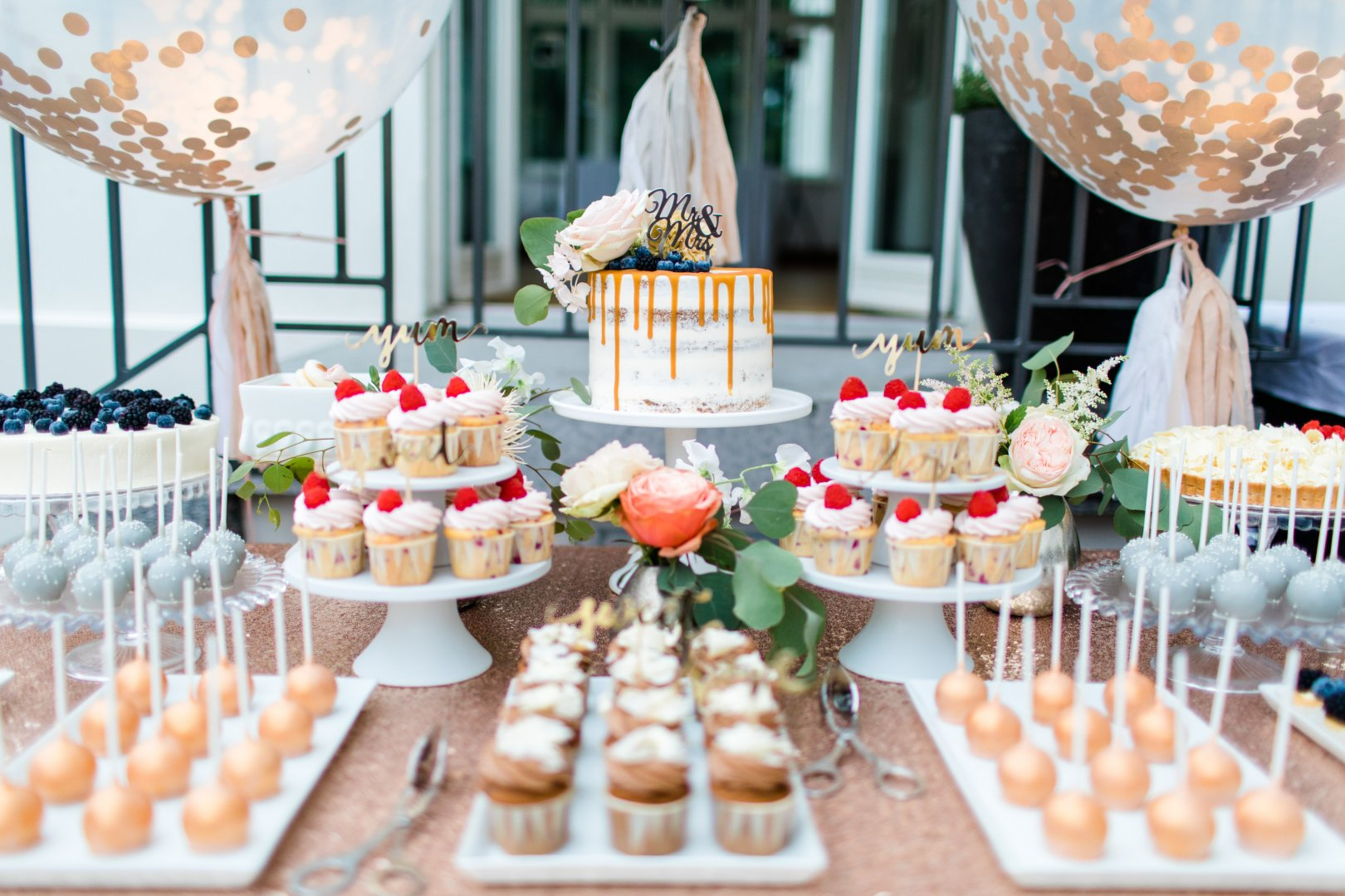 Brunch Food Dessert Sweetness Table Cuisine Party Finger food Event Buffet Baby shower Wedding reception Peach Cake Function hall Dish Icing Meal Baked goods Tableware