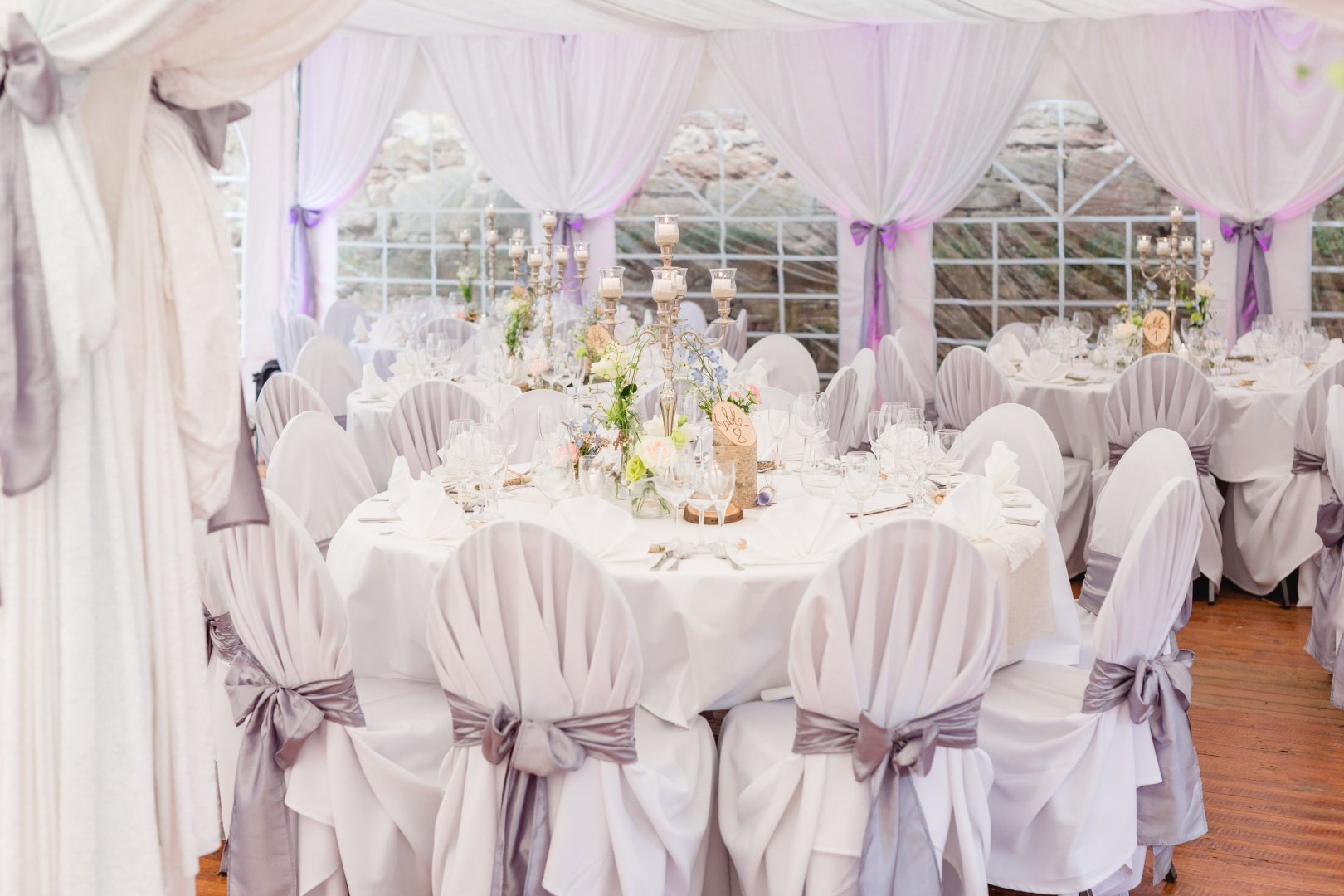 Decoration Wedding banquet Function hall Tablecloth Pink Purple Wedding reception Canopy Lilac Banquet Textile Party Chair Event Tent Linens Ceremony Table Furniture Chiavari chair Flower Petal Interior design Meal Ceiling Floristry Centrepiece Curtain Window Plant