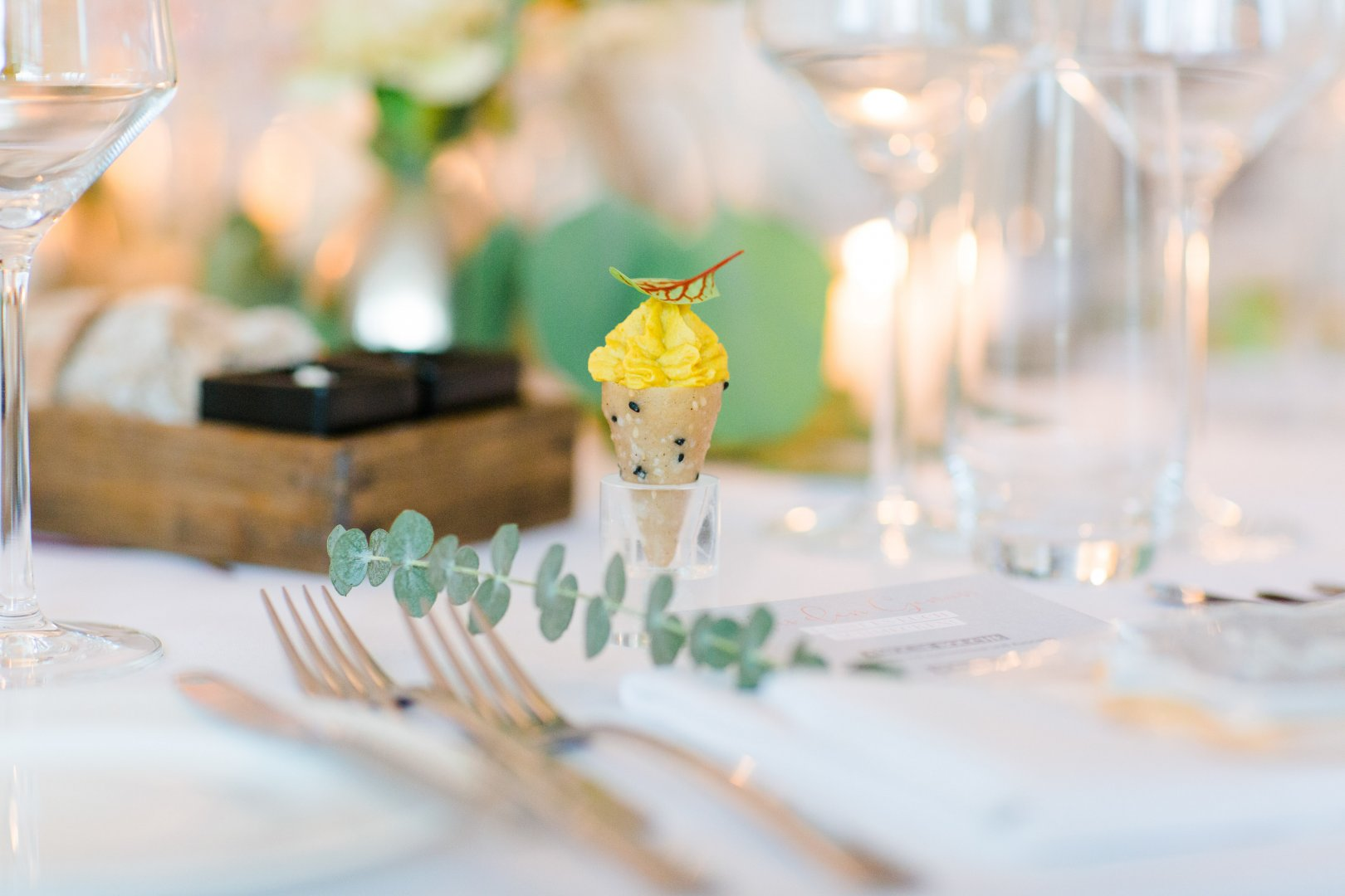 Yellow Rehearsal dinner Table Restaurant À la carte food Brunch Event Food Meal Party Ceremony Tableware Fork Centrepiece