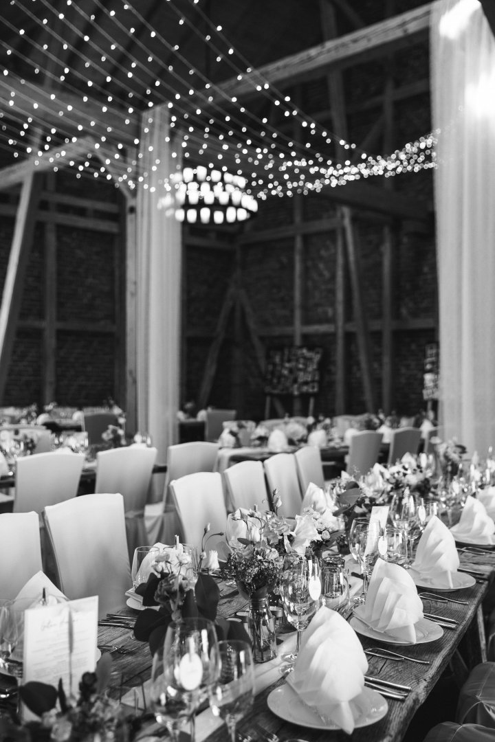 White Photograph Black-and-white Monochrome Monochrome photography Rehearsal dinner Function hall Event Banquet Party Table Wedding reception Crowd Chair Ceremony Tableware Ballroom Style Furniture Meal Restaurant