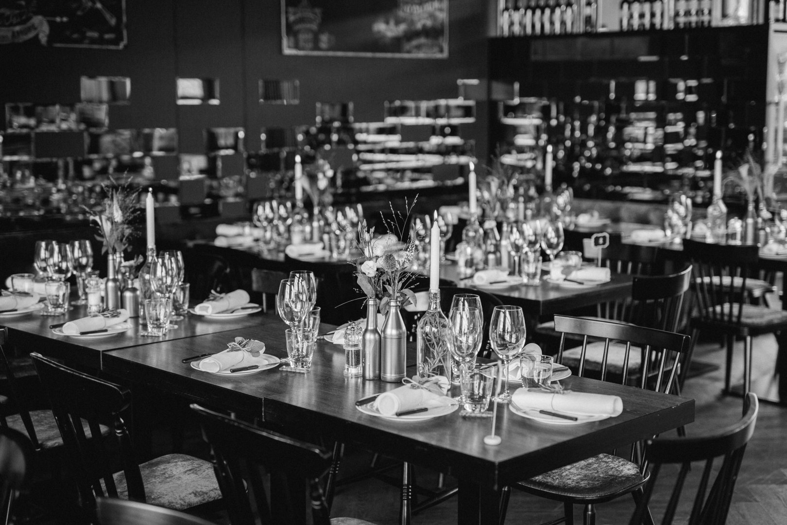 Black-and-white Table Monochrome Monochrome photography Restaurant Room Furniture Photography Building Bar Barware Style