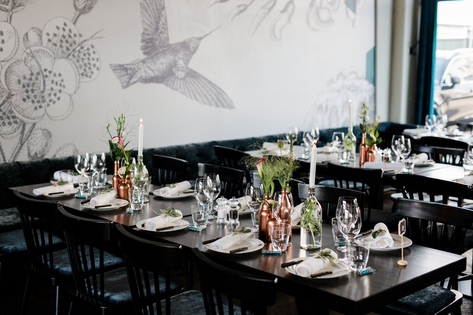 Rehearsal dinner Restaurant Table Room Meal Design Furniture Interior design Black-and-white Brunch Textile Lunch Event Photography Dining room Chair Centrepiece Tablecloth Flower Linens Function hall Tableware Party