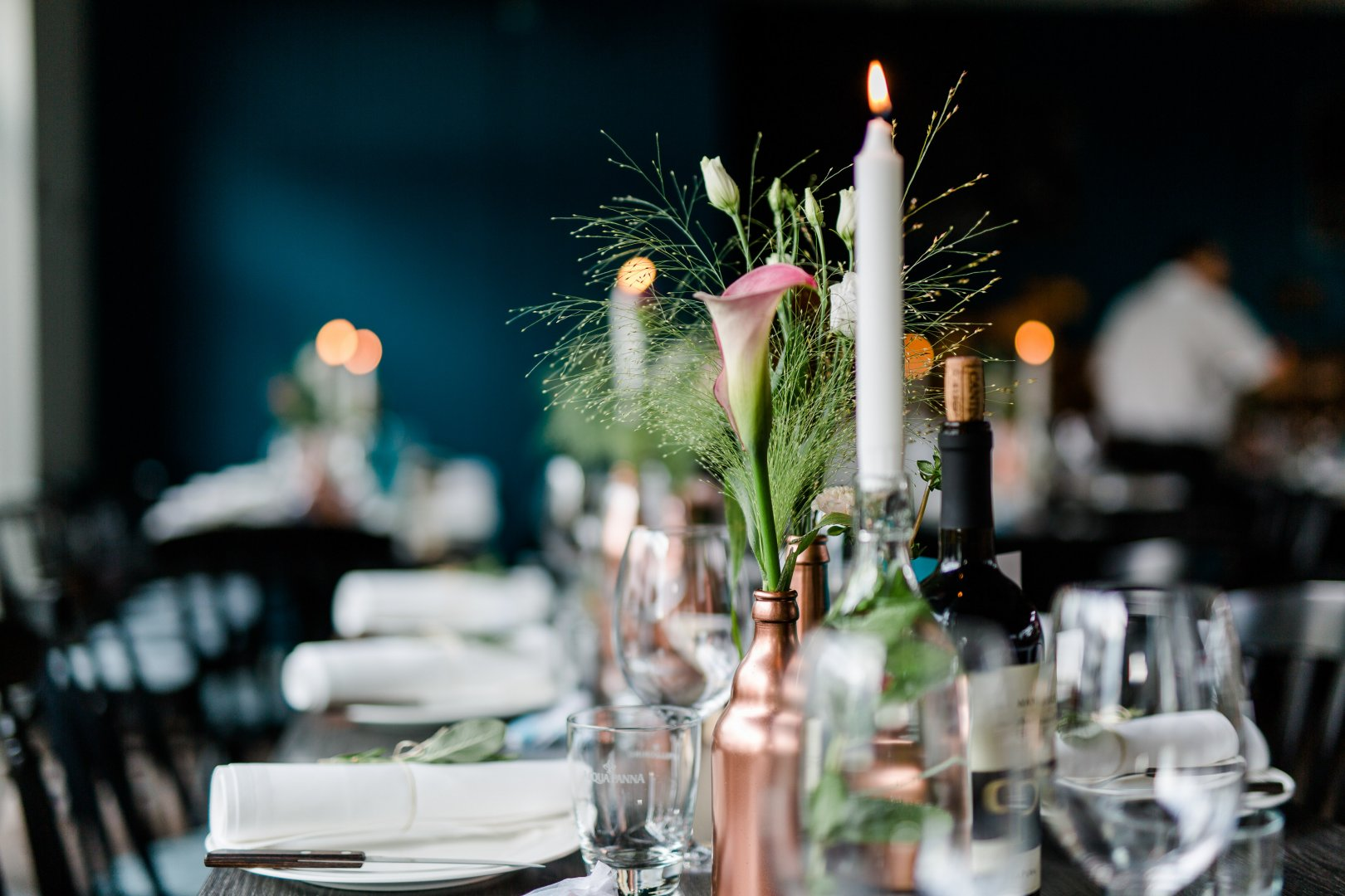 Photograph Centrepiece Rehearsal dinner Restaurant Yellow Table Flower Floral design Flower Arranging Floristry Tableware Plant Wedding reception Champagne stemware Ceremony Photography Function hall Interior design Meal Banquet Furniture Dinner Drinkware Party Stemware Glass Brunch