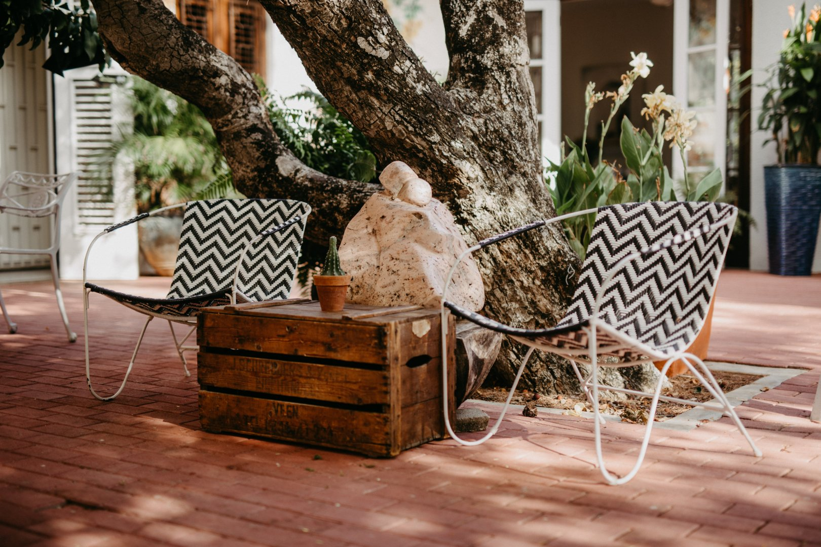 Furniture Tree Property Table Interior design Wood Room Home Wicker Hardwood Chair Outdoor furniture Real estate Floor House Backyard Outdoor table Flooring Branch Plant Coffee table Patio Landscape Flowerpot Yard Trunk Building