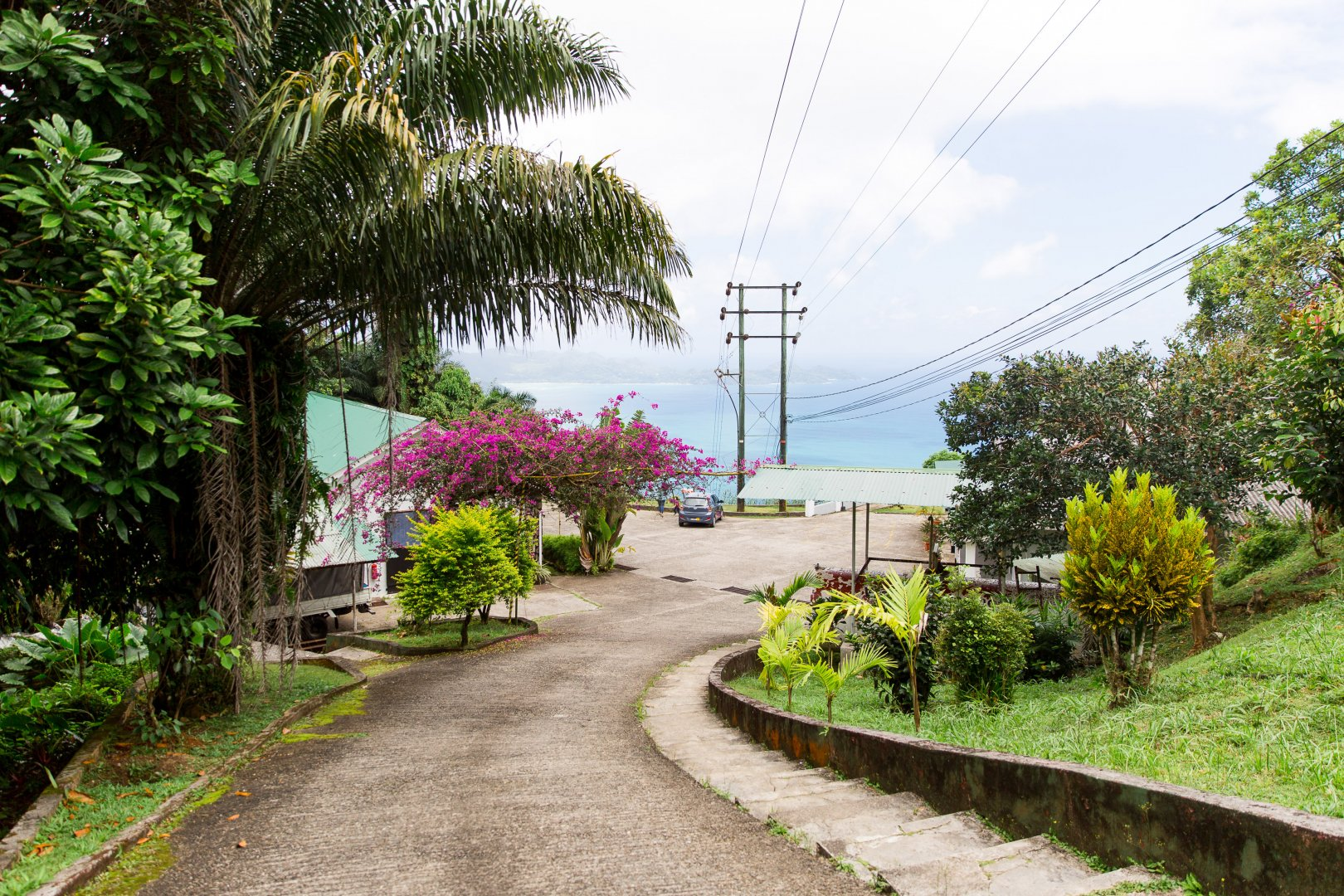 Vegetation Property Real estate Botany Tree Plant House Hill station Walkway Road Rural area Vacation Flower Tourism Building Resort Residential area Landscape Tropics Home Coastal and oceanic landforms Garden Trail Hill Street Coast