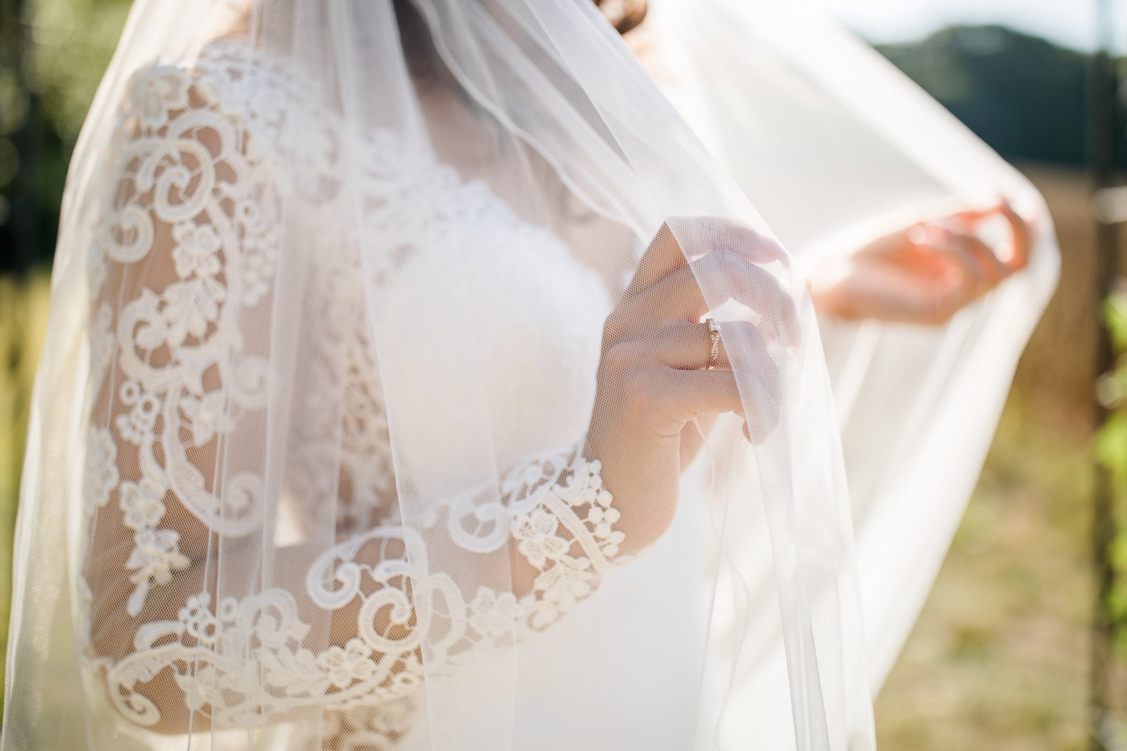 Veil Photograph White Wedding dress Dress Bridal accessory Clothing Bridal veil Bride Lace Bridal clothing Gown Pink Shoulder Fashion accessory Tradition Textile Outerwear Photography Ceremony Peach Wedding Headpiece Embellishment