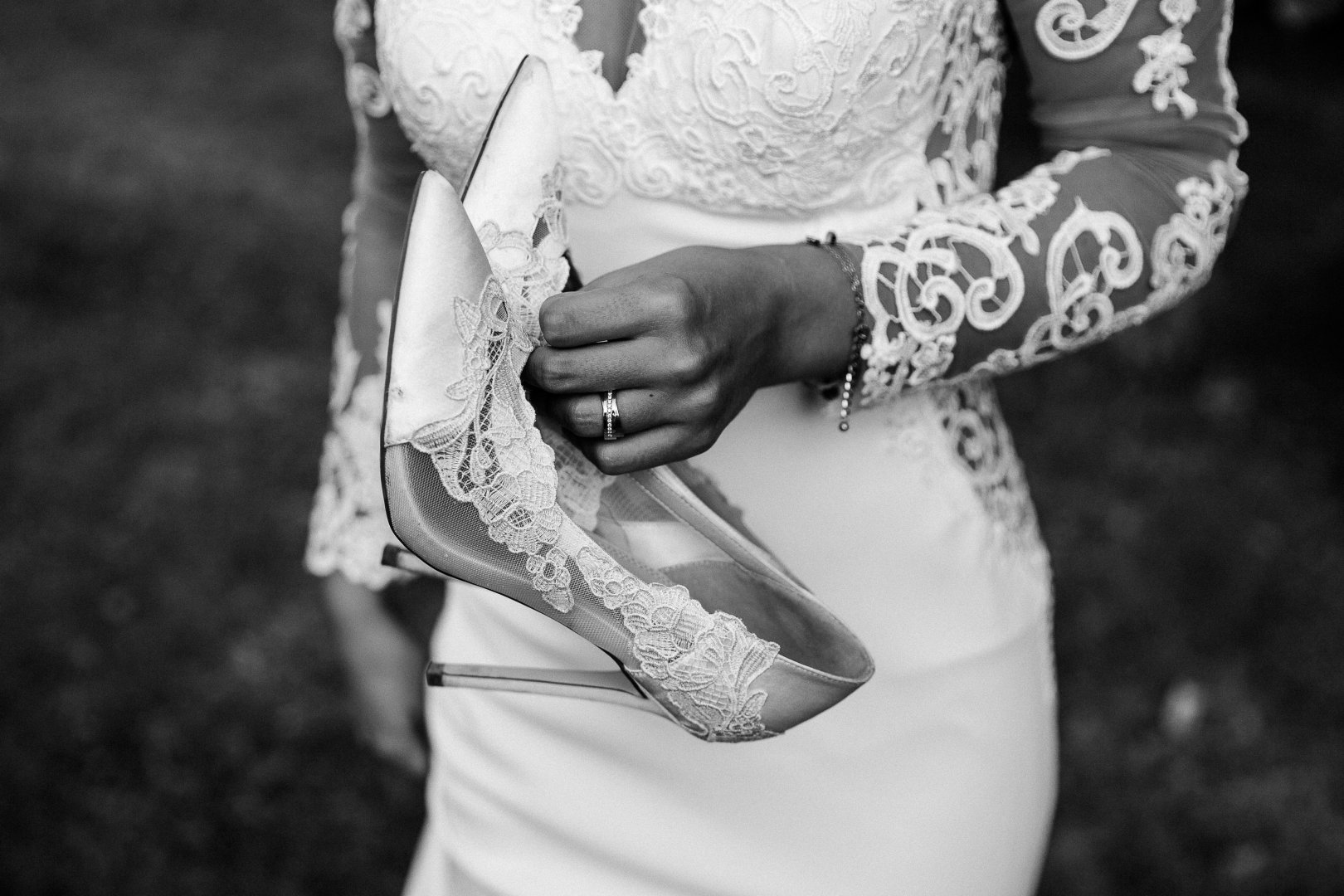 Photograph White Black-and-white Monochrome photography Wedding dress Hand Bride Dress Arm Photography Wedding Ceremony Monochrome Bridal clothing Elbow Finger Gesture Lace Style Wrist Fashion accessory Groom Street fashion Shoe Temporary tattoo Sleeve Marriage
