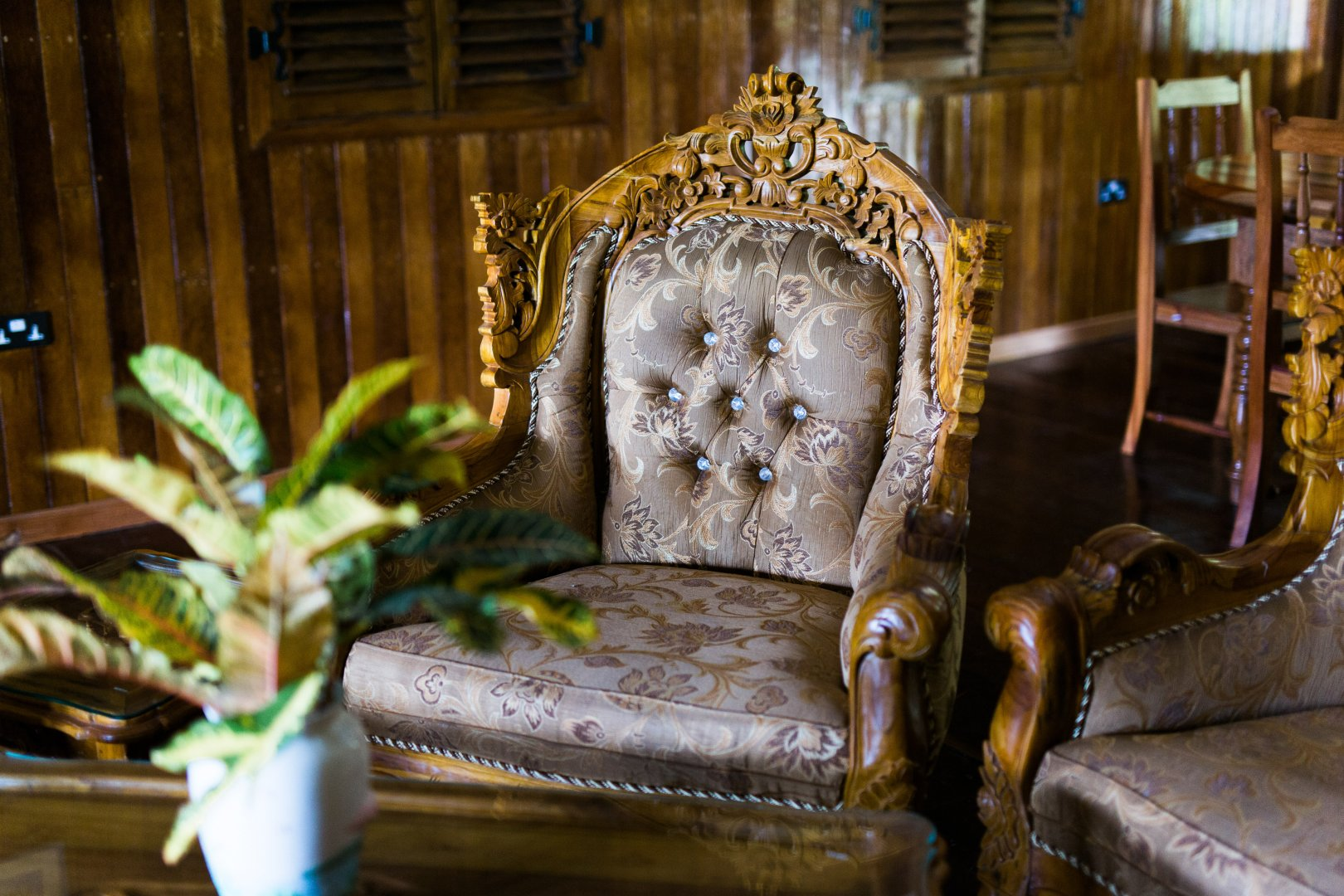 Furniture Chair Room Antique Interior design Couch Wood Plant House Carving Building
