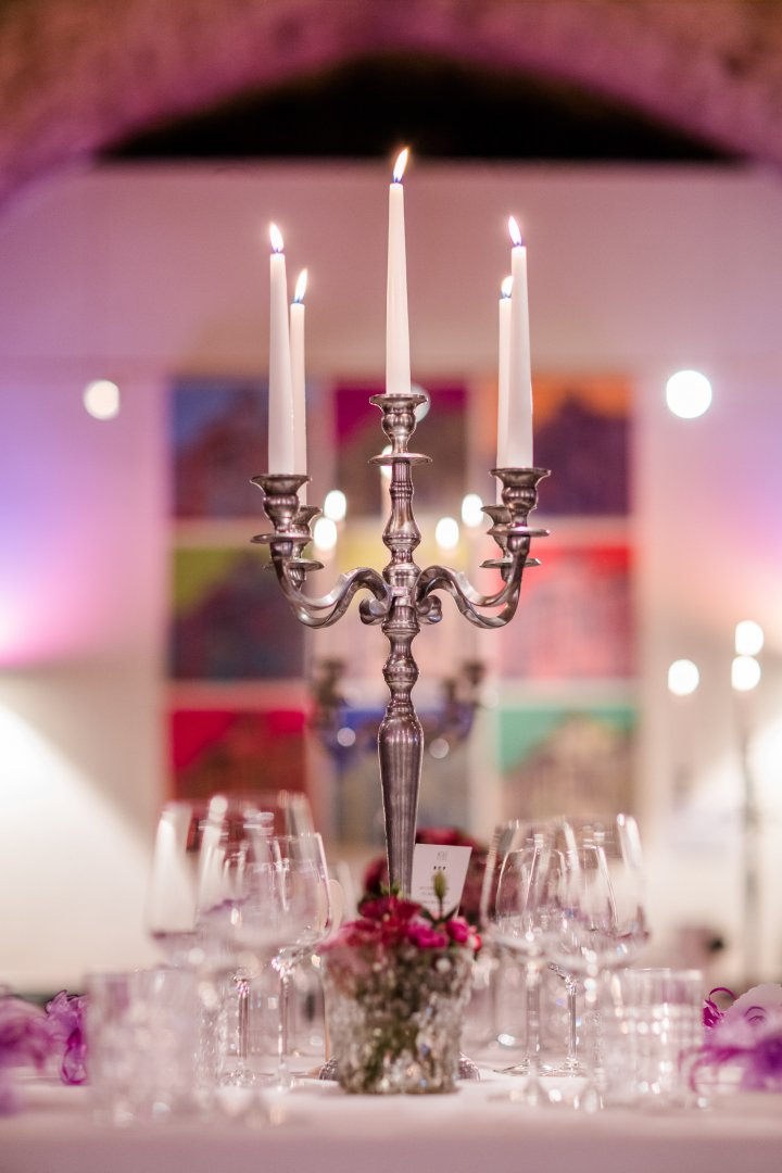 Candle Lighting Centrepiece Purple Pink Candle holder Unity candle Interior design Table Interior design Glass Ceremony Function hall Wedding reception Magenta Crystal Decoration Tableware