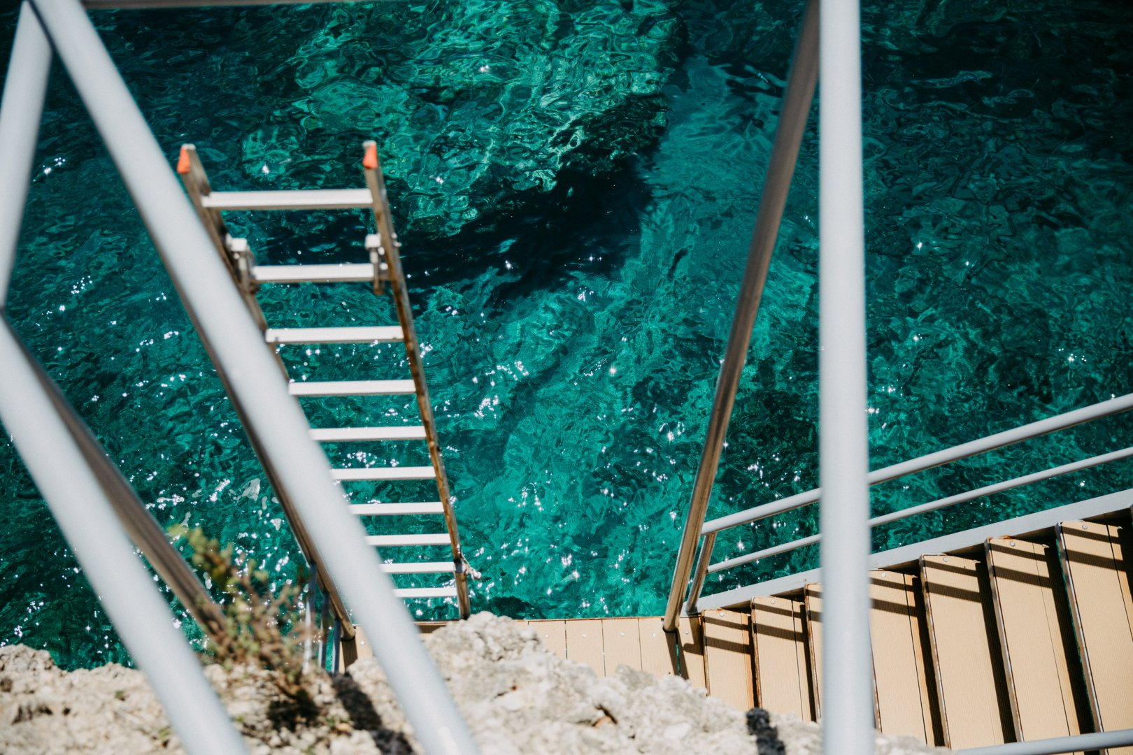 Blue Water Green Turquoise Stairs Aqua Teal Handrail Line Tree Turquoise Architecture Glass Wood Parallel House Baluster