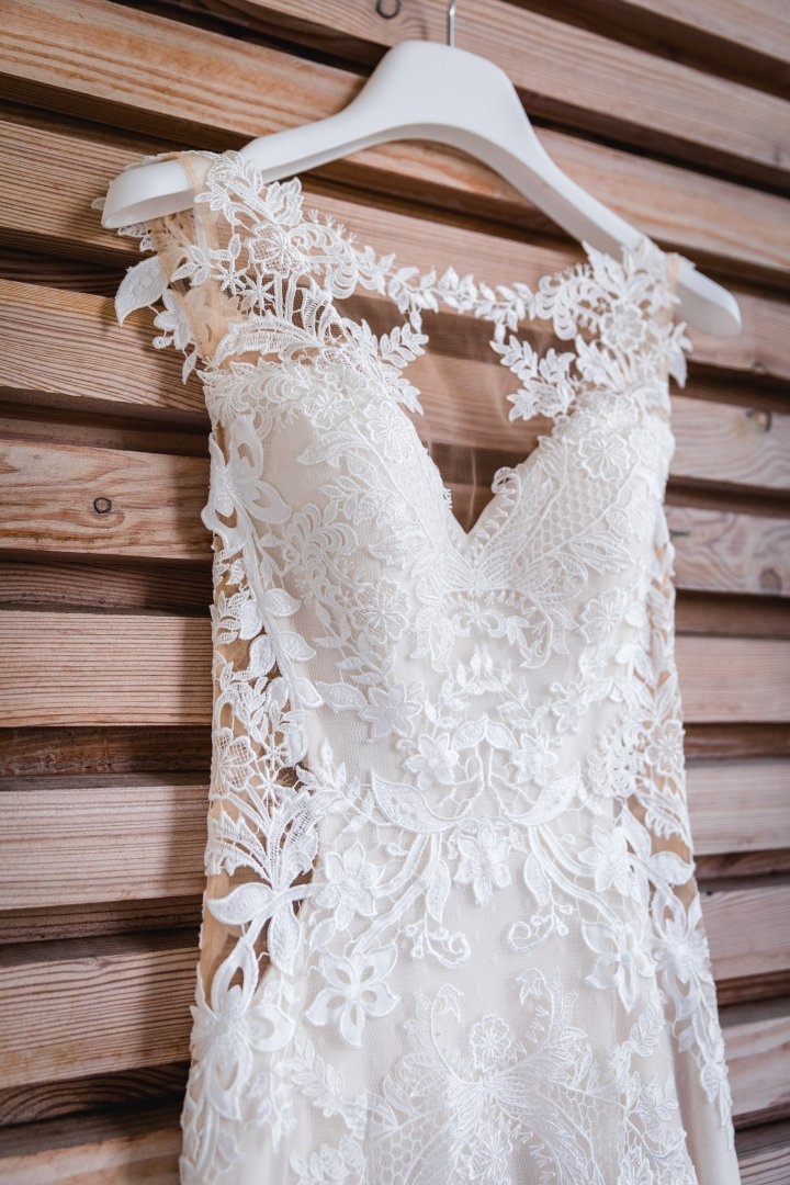 Clothing Dress White Shoulder Wedding dress Lace Gown A-line Cocktail dress Neck Bridal clothing Bridal party dress Outerwear Ivory Joint Sleeve Bride Textile Fashion accessory Embellishment Ruffle Embroidery Waist Formal wear