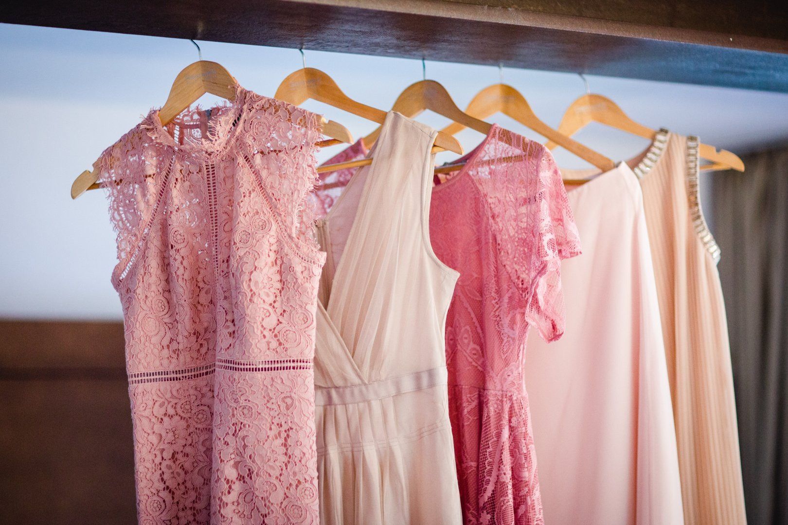 Clothing Clothes hanger Pink Dress Room Formal wear Peach Boutique Textile Curtain Vintage clothing Fashion design Pattern Interior design Nightwear Gown Robe Costume design
