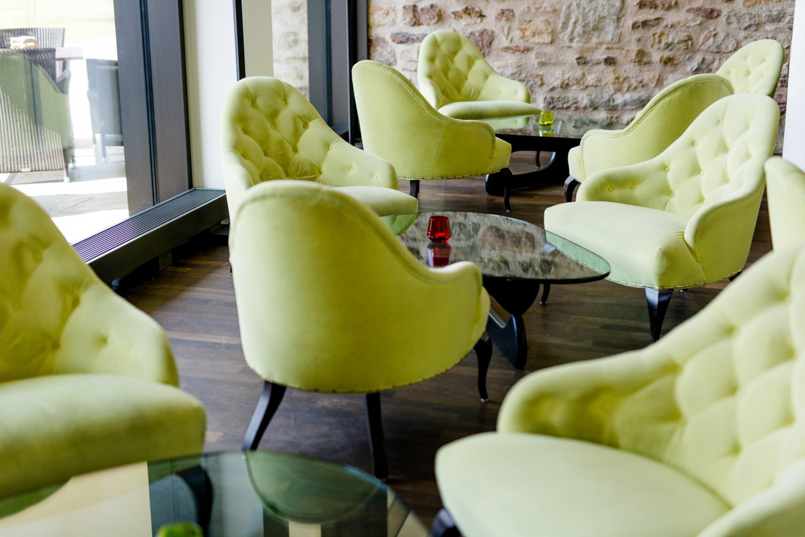 Green Furniture Chair Yellow Room Interior design Living room Table Architecture Armrest Plant Comfort